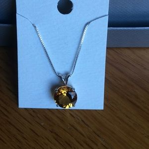 Jewelry - Round cut citrine pendant necklace. 925 sterling.